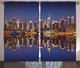 """Ambesonne Landscape Curtains, Cityscape Scenery of New York City at Midnight USA Ocean Reflection Coast Photo, Living Room Bedroom Window Drapes 2 Panel Set, 108"""" X 63"""", Night Blue"""