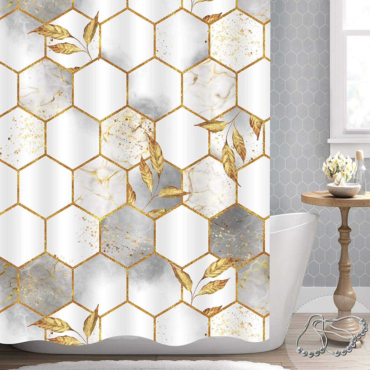 Gibelle Extra Wide Shower Curtain for All お気に入 Clawfoot Tub Aro Wrap 激安通販販売