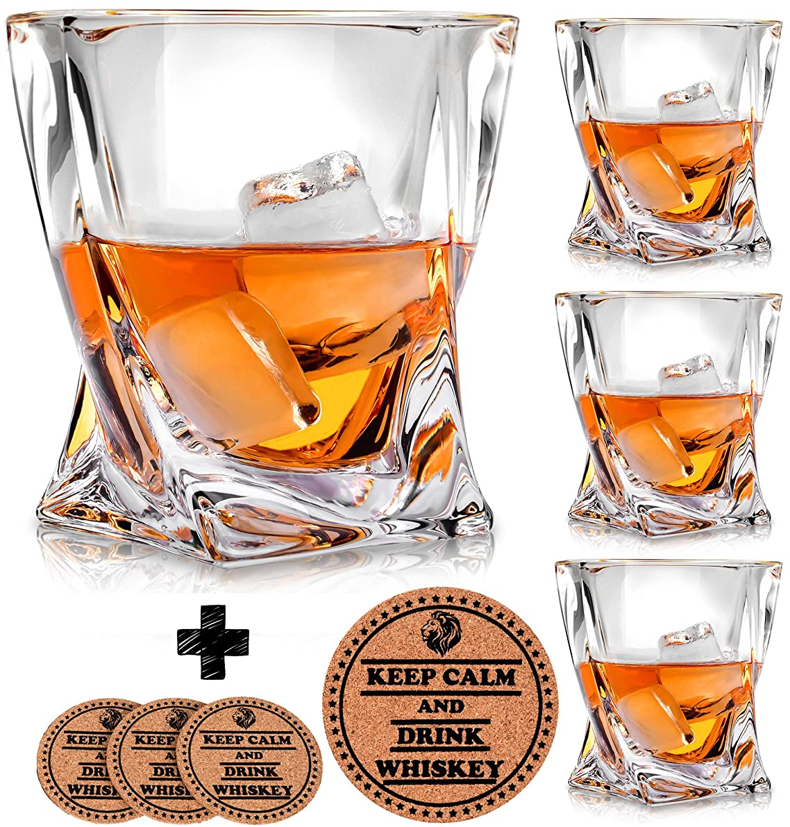 Twist Whiskey Glasses - Set of 4 - by Vaci + 4 Drink Coasters, Ultra Clarity Crystal Scotch Glass, Malt or Bourbon, Glassware Gift Set