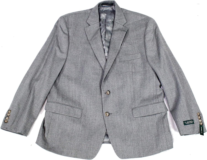 Lauren Ralph Lauren Mens Wool Blend Classic Fit Suit Jacket Gray 42R