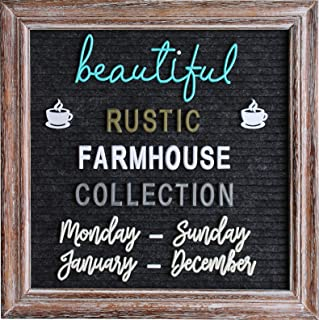 Rustic Felt Letter Board Barnwood Bundle Farmhouse Vintage Wood Frame and Stand by Felt Creative Home Goods 10x10 Inch Changeable Message Board 700+ Letter Set Numbers (10x10 Inches, Brown Black)