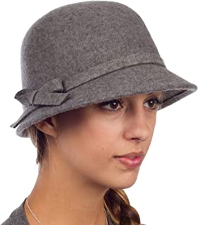 Sally Vintage Style Wool Cloche Bucket Winter Hat with Bow Accent