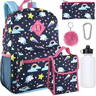Girl's 6 in 1 Backpack Set With Lunch Bag, Pencil Case, Bottle, Keychain, Clip (Unicorn)