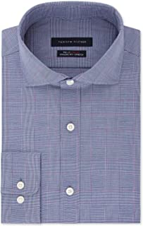 TOMMY HILFIGER Men's Fitted TH Flex Performance Stretch Moisture-Wicking Purple Check Dress Shirt (Purple, 16X34-35)