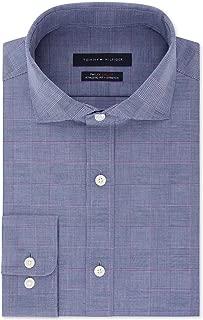 TOMMY HILFIGER Men's Fitted TH Flex Performance Stretch Moisture-Wicking Purple Check Dress Shirt (Purple, 16X34-35)
