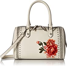 Calvin Klein Saffiano Leather Woven Chain and Embroidered Flower Top Zip Satchel