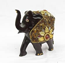 eCraftIndia Decorative Saluting Elephant Coated with Red Stone