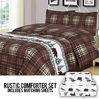 HowPlumb Rustic Bear Queen Comforter 7 Piece Bedding and Sheet Set Cabin Moose Hunting Lodge Bed in a Bag