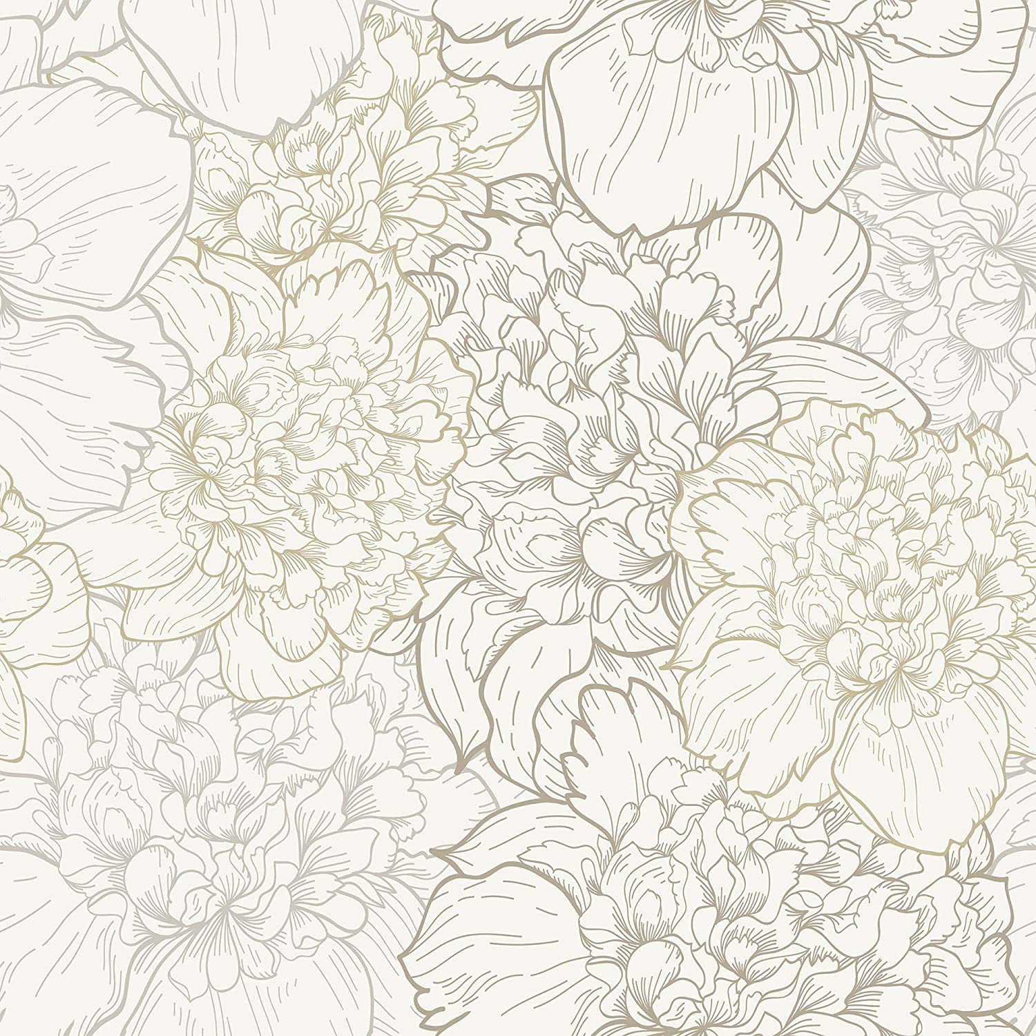 WallsByMe Peel and Stick free White Floral Wallpa Beige Save money Removable