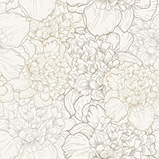 WallsByMe Peel and Stick White and Beige Floral Fabric Removable Wallpaper 1111-2ft x 8.5ft (61x260cm)