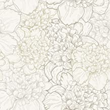 WallsByMe Peel and Stick White and Beige Floral Fabric Removable Wallpaper 1111-2ft x 10.5ft (61x320cm)