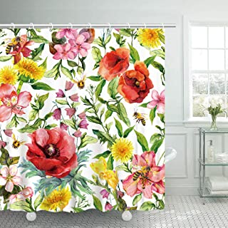 Shower Curtains Set Watercolor Meadow Flowers Funny Honey Bees Wild Grass Bathroom Fabric Curtains Waterproof Colorful Standard Size 70.8