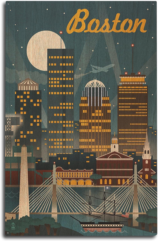 Lantern Press Boston, Massachusetts, Retro Skyline Wood Wall Sign (10x15 Rustic Home Decor, Ready to Hang)