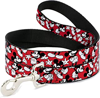Buckle-Down Pet Leash - Mickey Mouse Poses Scattered Red/Black/White - 6 Feet Long - 1