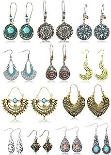 Besteel 12 Pairs Vintage Bohemian Drop Earrings Boho Ethnic Hallow National Waterdrop Geometric Pendant Dangle Earrings for Women Girls Statement Earrings Set