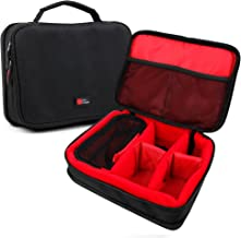 DURAGADGET Bolsa Acolchada Profesional Negra con Compartimentos e Interior en Rojo para Cámara Light L16 | Lenovo Mirage Camera | Blackmagic Pocket Cinema Camera 4K