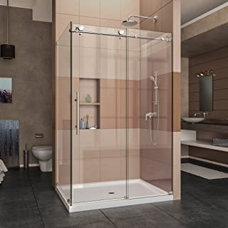 DreamLine SHEN-6132481-08 Enigma-X 32 1/2 in. D x 48 3/8 in. W x 76 in. H Fully Frameless Sliding Shower Enclosure in Polished Stainless Steel, 44 3/8-48 32.5