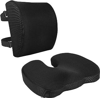 Amazon Basics - Cuscino per seduta e supporto lombare, in memory foam e gel rinfrescante, confezione da 2, colore: nero