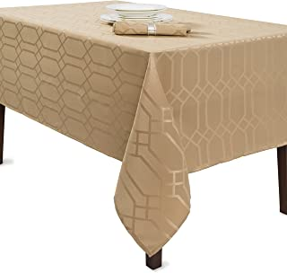 Benson Mills Solid Chagall Spillproof Fabric Tablecloth, 60X120, Wheat