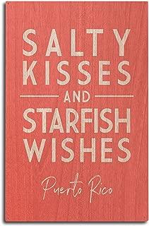 Lantern Press Puerto Rico - Salty Kisses and Starfish Wishes - Simply Said 99762 (10x15 Wood Wall Sign, Wall Decor Ready to Hang)