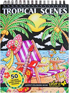 ColorIt Colorful Tropical Scenes Adult Coloring Book - 50 Single-Sided Designs, Thick Smooth Paper, Lay Flat Hardback Cove...