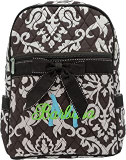 Monogrammed Quilted Damask Backpack with Bow Back to School Diaper Bag Personalized Gift Gifts for Her