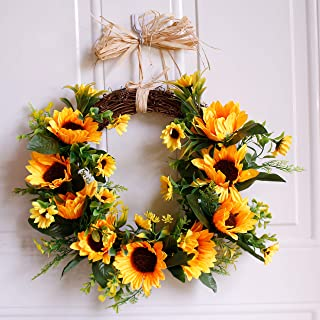 "Dseap Wreath - 12"" Sunflower - Rustic Farmhouse Decorative Artificial Flower Wreath, Faux Floral Wreath for Front Door Window Wedding Summer Fall Outdoor Indoor - Round, Yellow"