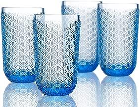 Elle Decor 229806-4HBBL Bistro Key 4 Pc Set Highball, Blue-Glass Elegant Barware and Drinkware, Dishwasher Safe, 14 oz,