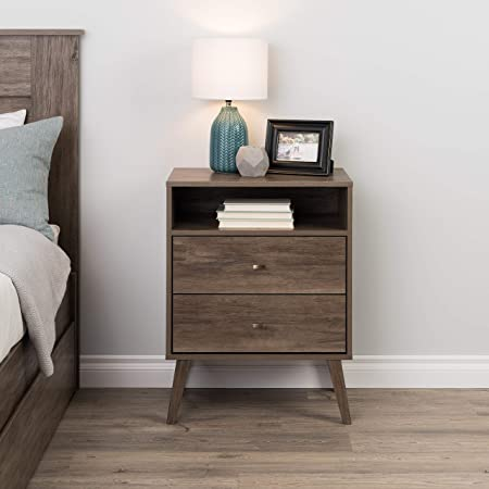 Prepac Milo Mid Century Modern Nightstand 2 Drawer With Open Shelf Drifted Gray Furniture Decor