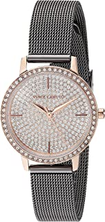Women's VC/5363PVRT Swarovski Crystal Accented Rose Gold-Tone and Gunmetal Mesh Bracelet Watch