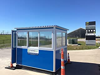 Prefabricated 6' x 8' Security Guard Shack/Ticket Booth/Parking Attendant Kiosk - Economy Model with Swinging Door