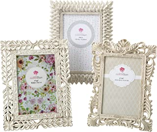 Vintage Baroque Ornate Antique Picture Frames ~ Set of 3 for 4x6 Inch Photos, Ivory Coated and Brushed with Gold and Silver Accents ~ Perfect for Wedding Vacation Graduation Or Any Milestone Photo