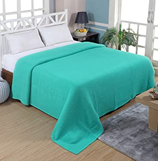 Tex Trend 100% Cotton Blankets Queen Size, Sea Green Color - Soft Premium Right Weight Breathable Cotton Thermal Blankets Waffle Weave Design - Provides Comfort and Warmth for Years