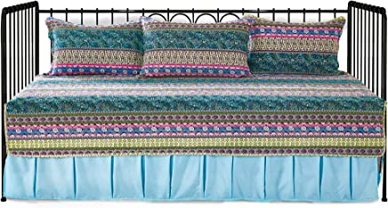 featured product Striped Jacquard Style 5-Piece Patchwork Quilted Daybed Cover Set, 100% Cotton