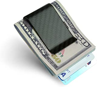SERMAN BRANDS- Carbon Fiber Money Clip Credit Card holder Slim Business Card Holder Clips for men Glossy