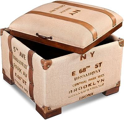 Sunset Trading Explorer Storage Ottoman, Tan and brown