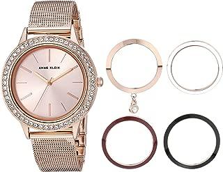 Anne Klein - Reloj de pulsera para mujer con cristales Swarovski y bisel intercambiable