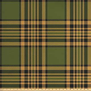 Lunarable Plaid Fabric by The Yard, Tartan Pattern in Autumn Tones Old Fashioned Design Country Illustration, Decorative Fabric for Upholstery and Home Accents, 10 Yards, Olive Green