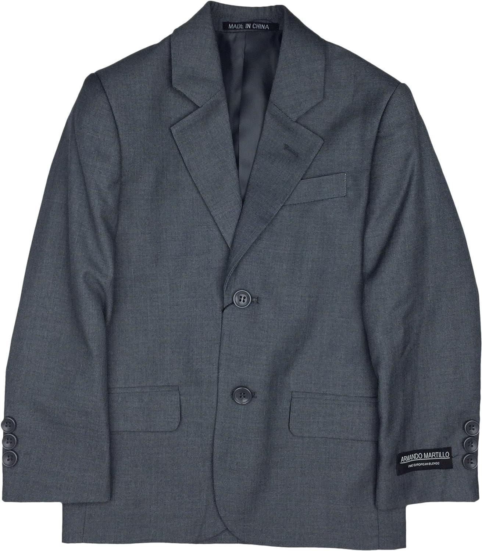 Armando Martillo Boys Solid Blazer Jacket (Slim, Regular & Husky Fit) - Medium Gray, 6X Slim