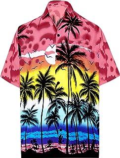 d9661c945 LA LEELA Hawaiian Shirt for Men Short Sleeve Front-Pocket Beach Palm Tree  Blue