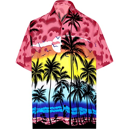 5d04229315e LA LEELA Hawaiian Shirt for Men Short Sleeve Front-Pocket Beach Palm Tree  Blue