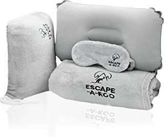 Travel Blanket Airplane Compact - Inflatable for Airplanes - Soft Plush Blanket For Better Sleep - Airplane Travel Accesso...