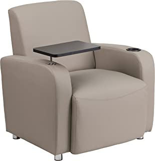 Flash Furniture Gray Leather Guest Chair with Tablet Arm, Chrome Legs and Cup Holder