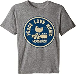 The Original Retro Brand Kids - Woodstock Peace and Love Short Sleeve Tri-Blend Tee (Big Kids)