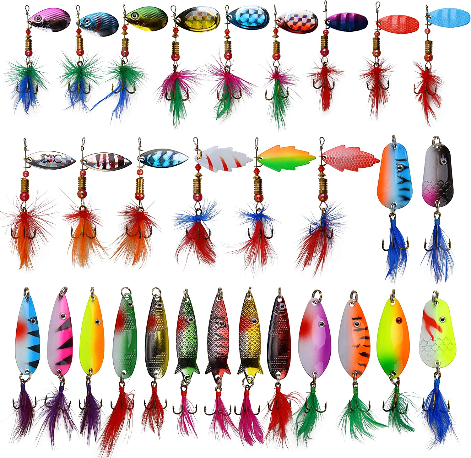 security Roostertail Spinner Fishing Lures Kit Spoon 30pcs Metal latest wi