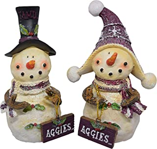 Set of 2 Licensed Texas A&M Aggies Snowman Standing Decorations
