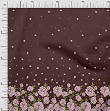 Soimoi Brown Poly Crepe Fabric Leaves & Rose Panel Print Fabric by Yard 42 Inch Wide