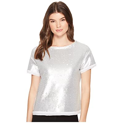 Three Dots Sequins Boxy Crop Top (Silver) Women