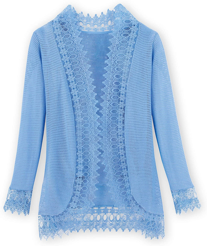 Elegant Open Front Lace Trimmed Cardigan - Beautiful Feminine Lace Trim Cornflower Blue