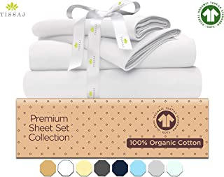 "Organic Cotton Bed Sheets Set - 500TC Queen Size Ultra White - 4 Piece Bedding - 100% GOTS Certified Extra Long Staple, Soft Sateen Weave Bedsheets - Fits 15"" Deep Pocket Mattress"